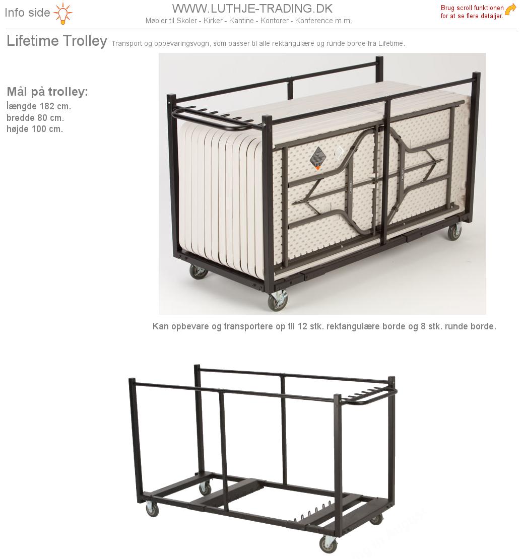Trolley til rektangulære Lifetime borde