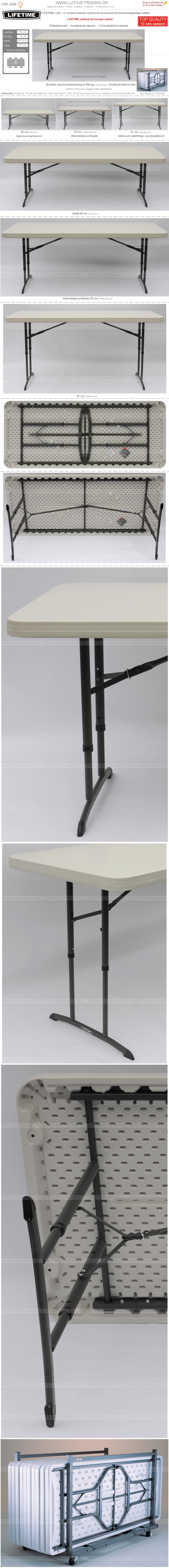 Plastborde 3 højder 183 x 76 cm.